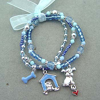78070 KIDS BRACELET- MULTICOLORED BLUE BEADS - PUPPY DOG CHARMS - STRETCH