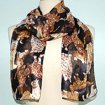 82829 SCARF - 13 X 60 SATIN STRIPE - MULTIPLE CATS - BLACK