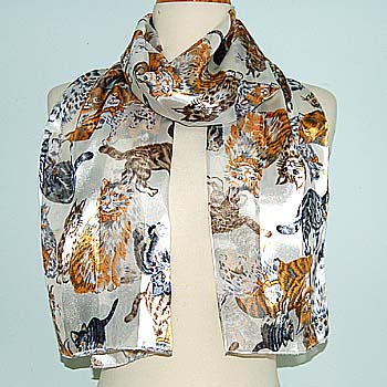 82830 SCARF - 13 X 60 SATIN STRIPE - MULTIPLE CATS - IVORY