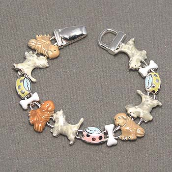 87919 BRACELET - PUPPY DOG THEME - MULTICOLORED - MAGNET CLOSURE