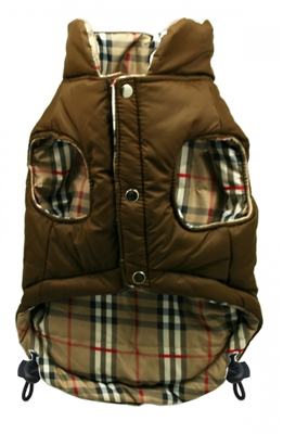 Brown/Plaid Reversible Puffer Vest