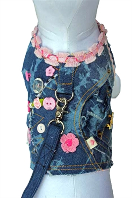 Girlie Girl Denim Vest w/Leash