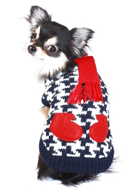 Houndstooth Scarf and Mittens Sweater