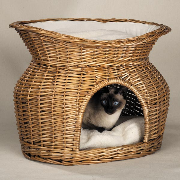 Meow Town Wicker Basket Bed-Meow Town Wicker Basket Bed