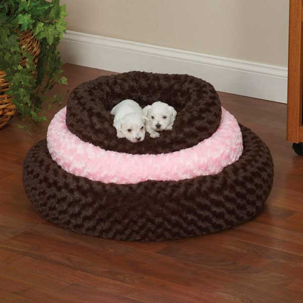 Slumber Pet Swirl Plush Donut Dog Beds