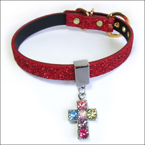 Twinkle Collar Red-Multi Colored Cross