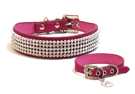 Fuchsia Velvet and Crystal Collar