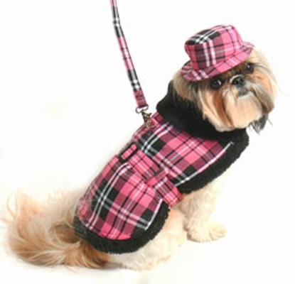 Pink Plaid Coat Set w/ Hat and Leash