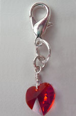 Ruby Swarovski™ Crystal Heart Collar Charm